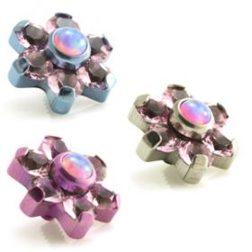 Titanium Pink Opal & Gem Micro Flower Top - 1.6mm