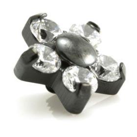Evil Black Titanium Micro Gem Flower - 5 Petals