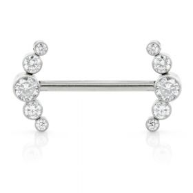 Ti Internal Forward Facing Double Crescent Jewelled Barbell