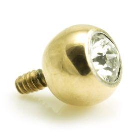 Zircon Gold PVD Ti Internal Gem Ball 1.6mm