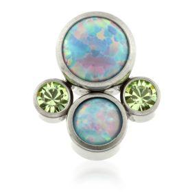 Titanium Micro Quad Opal Gems - Blue
