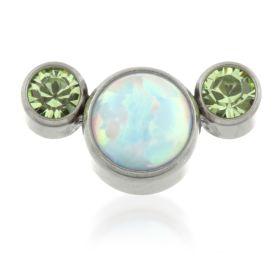 Titanium Opal Triple Gem Crescent - Blue