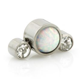 Titanium Large Opal 2 Crystals Triple Gem - 1.2mm