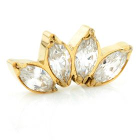 Internal Yellow Gold Ti Marquise Gem Cluster