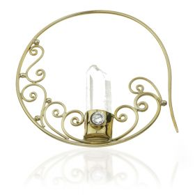 1x Crystal Point Brass Circle Ear Weight