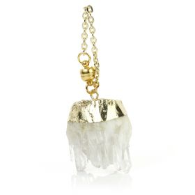1x Crystal Cluster Brass Hanging Ear Weight with Magnetic Fastening