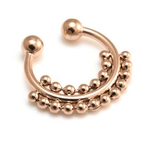 Fake Rose Gold Double Row Septum Ring