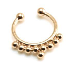 Fake Rose Gold Steel Multi Dot Septum Ring