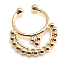 Fake Rose Gold Steel Semi Circle Septum Ring