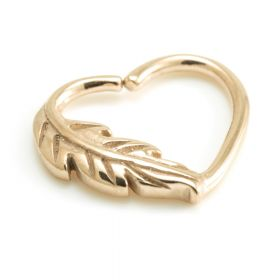 Rose Gold Steel Feather Heart Ring