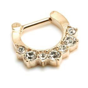 Rose Gold Steel Jewelled Septum Ring