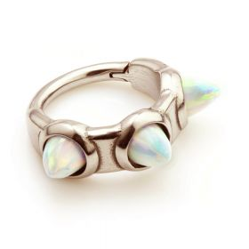 Rose Gold Steel Hinged 3 Spikes Opal Hinge Ring 1.2mm