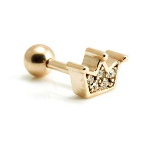 Rose Gold Steel Gem Crown Microbar