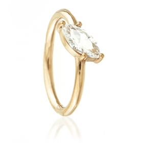 Rose Gold Steel Hinged Slanted Marquise Gem Conch Ring