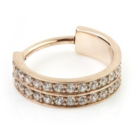Rose Gold Steel Hinged Doubled Jewelled Conch Ring