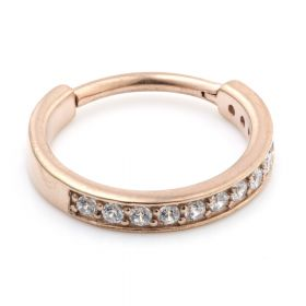 Rose Gold Steel Hinged Jewelled Conch Ring