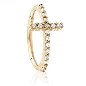 Rose Gold Steel Hinged Jewelled Pave Cross Bar Conch Ring