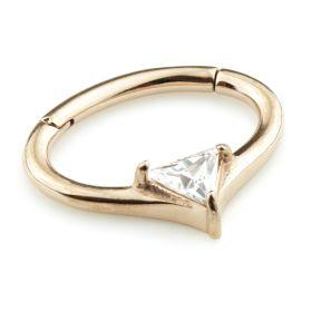 Rose Gold Steel Hinge Trillion Gem Daith Ring