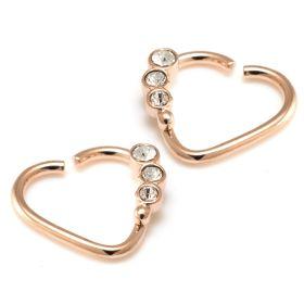 Rose Gold Steel Gem Heart Ring