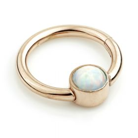 Rose Gold Steel Hinge Segment Ring with Flat Opal Disk