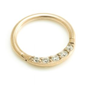 24K Gold Steel Front Pavé Gems Hinged Micro Ring