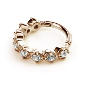 Rose Gold Steel Hinged Claw Gem Ring
