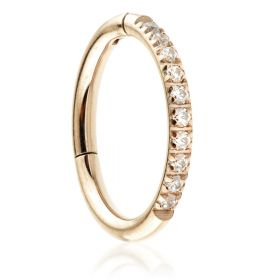 Rose Gold Steel Half Pavé Gems Hinged Micro Ring