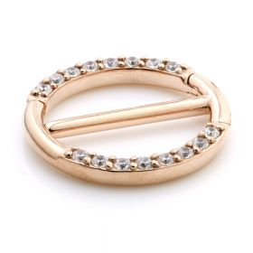 Rose Gold Steel Jewelled Double Nipple Clicker