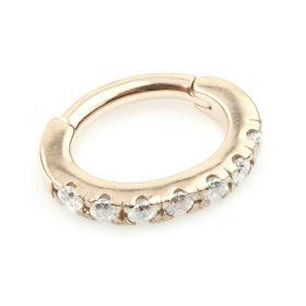Rose Gold  Steel Hinged Pave Gem Rook Ring
