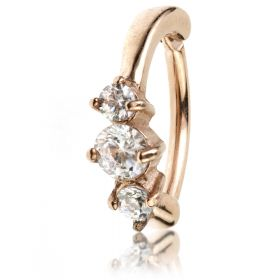 Rose Gold Steel Hinged Claw Gem Rook Ring