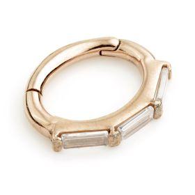 Rose Gold Steel Hinged Rectangular Crystal Rook Ring