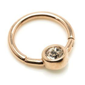 Rose Gold Steel Hinge Smiley Gem BCR Ring