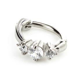 Steel Hinged Claw Gem Rook Ring