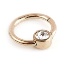 Rose Gold Ti Hinge Segment Ring with Gem - 1.2mm