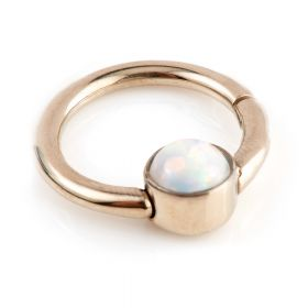 Rose Gold Ti Hinge Segment Ring with Opal - 1.2mm
