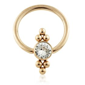 Rose Gold Ti BCR with Double Tri Dot Gem Flat Disk