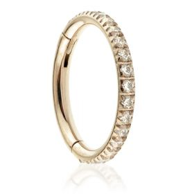 Rose Gold Ti Full Pavé Gems Hinged Micro Ring - 1.2mm