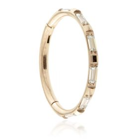 Rose Gold Titanium Jewelled Baguette Hinged Micro Ring - 1.2mm