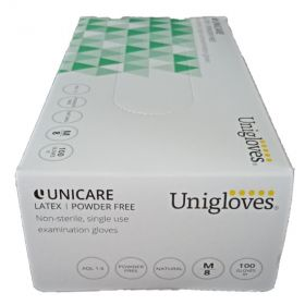 Unicare Gloves Powder Free White Latex-ex small