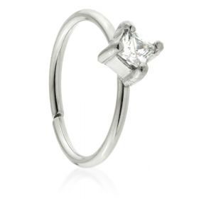 Seamless Steel Ring with Square Gem