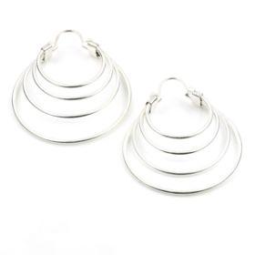 Silver Brass Band Hoop Earrings (Pair)