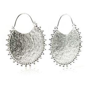 Silver Plate Brass Disk Hoop Earrings (Pair)