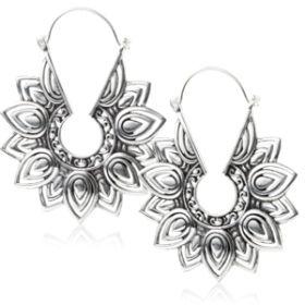 Silver Brass Tribal Hoop Earrings (Pair)