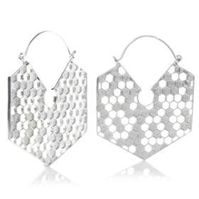 Silver Brass Hex Honey Comb Hoop Earrings (Pair)