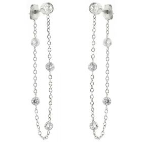 316L Gem Stud with Hanging Chain Jacket Earrings (Pair)
