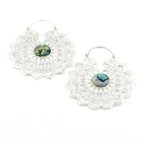 Silver Brass Lotus Hoop Earrings with Abolony (Pair)