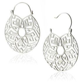 Silver Brass Flower Disk Earrings (Pair)