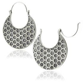 Silver Brass Hex Disk Earrings (Pair)