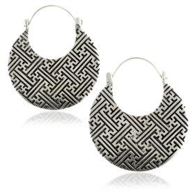 Silver Brass Geo Lines Disk Earrings (Pair)