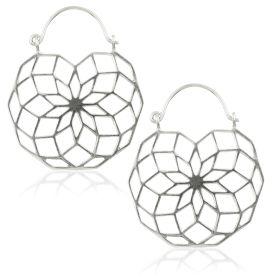 Silver Brass Geometric Hoop Earrings (Pair)